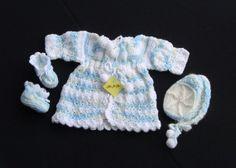 Three piece baby sweater set by FuzziesByFlorence on Etsy, $25.00