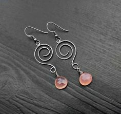 Pink Chalcedony Silver Earrings Spiral by SaruchiRJewellery
