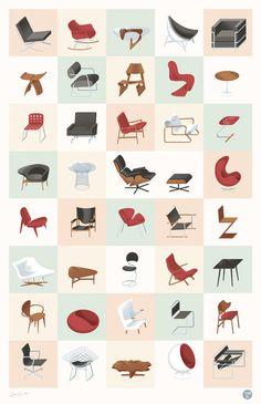 Mid-Century Modern Furniture Poster #interior #design #interiordesign