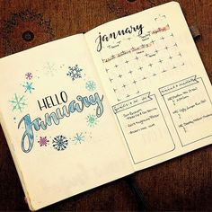Finally got #January completed!!! Took a while to pick a theme. Only problem: I can't draw #snowflakes!!!! If you don't look too close, they're fine! . . . #bulletjournal #bujo #bujojunkie #bulletjournaljunkie #january #month #cover #overview