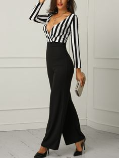 42a2a397723 Off Shoulder Striped Splicing Belted Jumpsuits  black jumpsuit outfit night plus  size long sleeve