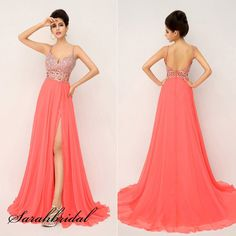 Sexy Coral V-back Long Party Prom Dresses Women High-slit Evening Cocktail Dress #Handmade #BallGown #Formal