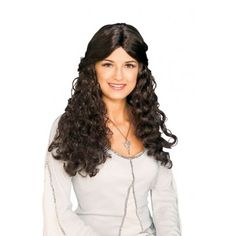 OFF - Lord Of Rings Arwen Wig : Long black wavy wig. A wig cap is a recommended pairing as it can control hair under wigs (especially longer hair)or spirit gum adhesive can be used to secure the wig to your head and remover used to easily remove Arwen Costume, Costume Wigs, Long Curly Hair, Curly Hair Styles, Horror, Renaissance Fashion, Wig Cap, Lord Of The Rings, Brunette Hair