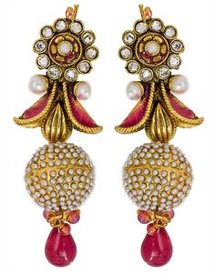 Rosy Pink Meenakari Earrings - Pondicherry Online Boutique | India Inspired Fashion & Accessories