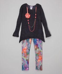 Look what I found on #zulily! Maya Fashion Gray & Coral Flower Tunic Set - Girls by Maya Fashion #zulilyfinds