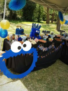 Cookie monster 1st birthday candy table