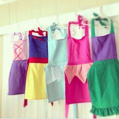 Rapunzel, Snow White, Cinderella, Aurora, Ariel Aprons
