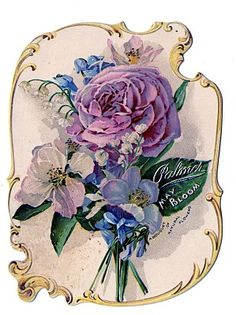 Victorian Clip Art - Stunning Rose Bouquet Perfume Ad - The Graphics Fairy