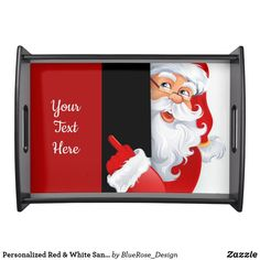 Personalized Red & White Santa Serving Tray Holiday Cards, Christmas Cards, Christmas Decorations, Natural Wood Finish, Christmas Items, Holiday Treats, Christmas Card Holders, Hand Sanitizer, Keep It Cleaner