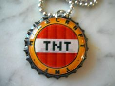 Minecraft TNT Bottle Cap Necklace Birthday Party Favor | eBay
