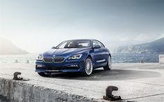 Download wallpapers BMW Alpina B6 Gran Coupe, 2017, Sedan, blue BMW, tuning, xDrive, ALPINA, BMW