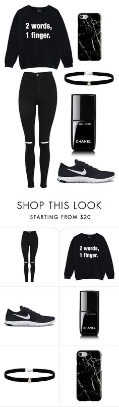 """""""how to wear black"""" by rvgr04 on Polyvore featuring mode, Topshop, NIKE, Chanel, Amanda Rose Collection en Recover"""