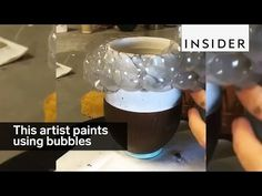 This artist paints her pottery with bubbles - YouTube
