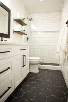 bathroom remodel on a budget & bathroom remodel & bathroom remodel on a budget & bathroom remodel small & bathroom remodel master & bathroom remodel diy & bathroom remodel ideas & bathroom remodel before and after & bathroom remodel with tub Diy Bathroom Remodel, Bathroom Renos, Bathroom Flooring, Bathroom Interior, Modern Bathroom, Basement Bathroom Ideas, Black Bathroom Floor, Small Master Bathroom Ideas, White Vanity Bathroom