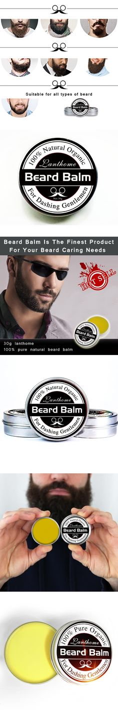 1PC Lanthome New 100% Natural Organic Beard balm Moustache Wax for styling Beeswax moisturizing smoothing gentlemen beard care