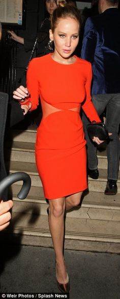 BAFTA nominee Jennifer Lawrence wows in red cut out dress after dining in Knightsbridge | Mail Online