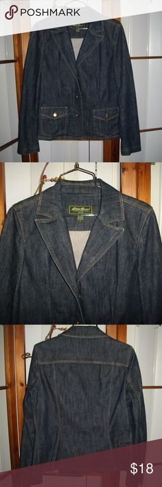"""EUC Eddie Bauer Denim Jacket Button Front Pockets Eddie Bauer Denim Jacket Size 6.  Medium to Dark wash denim.  Jacket is collared and is three button front, has button front pockets.  Jacket also  has functioning buttons on the sleeves.  98% Cotton and 2% Spandex.  Measures 24"""" long and 21"""" across the chest.  Sleeves measure 19"""".  Excellent Condition and Absolutely No Defects.  Thanks for Looking! Eddie Bauer Jackets & Coats Jean Jackets"""