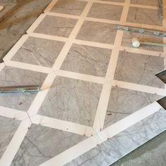 It's gonna be a stunner. Carrara and Thassos marble floor. #kadprogress #newconstruction