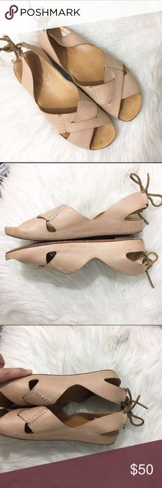 """Korkease """"Rebecca"""" leather sling back sandals Cute and great for summer outfits. These look great with dresses and shorts alike, and can be dressed up or down. Size 7, adjustable back ankle ties, cushioned sole. Light wear, see photos. Fit TTS kork-ease Shoes Sandals"""