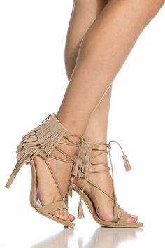 Nude Faux Suede Fringe Lace Up Single Sole Heels @ Cicihot Heel Shoes online store sales:Stiletto Heel Shoes,High Heel Pumps,Womens High Heel Shoes,Prom Shoes,Summer Shoes,Spring Shoes,Spool Heel,Womens Dress Shoes