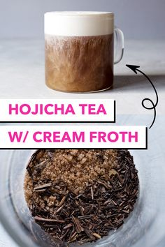 A rich and decadent Japanese hojicha tea latte made with a frothy cream topping thats both sweet and a little salty. Hot Tea Recipes, Coffee Recipes, Drink Recipes, Lemon Balm Tea, Green Tea Latte, Coffee Dessert, Chamomile Tea, Milk Tea, Drinking Tea