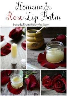 Homemade Rose Lip Balm. All natural. Edible. Sweet and Beautiful Rose Fragrance.