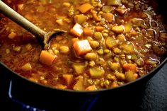 This warming, highly spiced stew is rich in beans, grains and chunks of sweet winter squash Feel free to substitute other grains for the barley Farro works particularly well