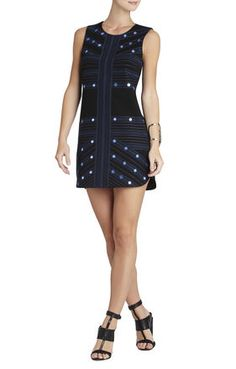 Vivianne Mirror-Embroidered Sleeveless Dress | BCBG