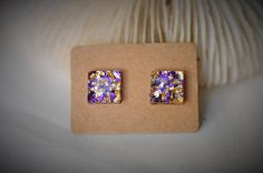 RESIN Earring Gem SQUARE Earring Purple / Gold Mermaid