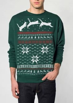 Ugly Christmas sweater -- Cat jumping in snow -- pullover cat sweatshirt -- s m l xl xxl xxxl. $29.00, via Etsy.