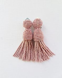 Rose Gold short beaded tassel earrings round top by datkajewelry