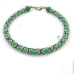 Купить Жгут бисерный Как у змейки зеленый - комбинированный, зеленый, черный, белый, имитация кожи