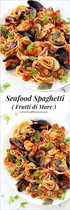 Seafood Spaghetti Recipe or Spaghetti Frutti di Mare | http://CiaoFlorentina.com @CiaoFlorentina -use GF pasta-