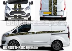 Ford Transit Custom camouflage Viper stripes Digitally printed Ford Transit Custom Sport Viper racing stripes sticker kit from street race graphics. The stripes have a real tree / woodland effect camouflage infill, in a choice of fills. Ford Transit Custom Camper, Custom Campers, Custom Decals, Custom Stickers, Car Stickers, Car Decals, Van Signwriting, Luxury Van, Racing Stripes