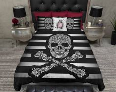 Lightweight Skull Bedding Red & Black Collage by InkandRags
