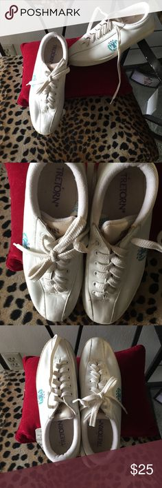Tretorn white leather sneakers Worn once and then put away. Perfect condition white leather vintage style but as good as new! Tretorn Shoes Sneakers