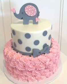 Torta Baby Shower, Tortas Baby Shower Niña, Elephant Cupcakes, Elephant Baby Shower Cake, Baby Girl Elephant, Pink Elephant, Baby Girl Shower Themes, Girl Baby Shower Decorations, Girl Baby Shower Cakes