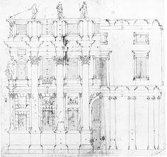 Andrea Palladio: Palazzo Valmarana, 1565, Vicenza, Italy; elevation study by Palladio
