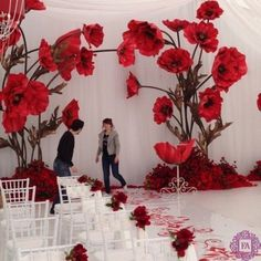 Large Foam Flowers / Flowers With Stems / Paper Flowers / Giant Paper Flowers / Wedding Decor / Izolon Flowers / Foam Flowers Large Paper Flowers, Paper Flowers Wedding, Crepe Paper Flowers, Paper Flower Backdrop, Giant Paper Flowers, Big Flowers, Poppy Flowers, Red Poppies, Flower Decorations