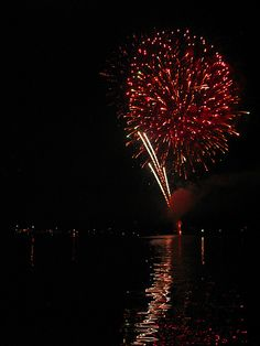 Fourth of July Fireworks over Lake Mitchell in Clanton, Alabama