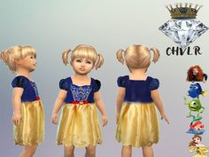 Disney Dresses for Toddler in different Designs, hope you like it. Found in TSR Category 'Sims 4 Toddler Female'