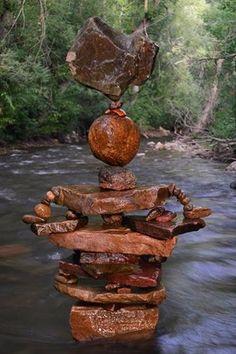 Bronze-Colored Stone Stack