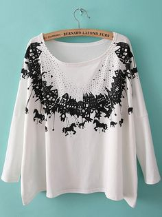 #SheInside White Round Neck Long Sleeve Horse Print T-Shirt