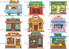 24 Ideas Meat Shop Illustration For 2019 Building Illustration, Flat Illustration, Landscape Clipart, Meat Store, Chinese Flowers, Affinity Designer, Candy Store, Illustrations And Posters, Vintage Design