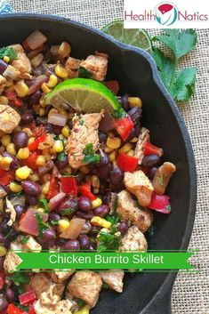 Mexican Chicken Burrito Skillet Recipe With Black Beans - Repin if you like it https://www.healthnatics.com/chicken-burrito-skillet/