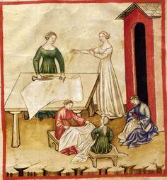 Verwendung der Leinwand, Darstellung in einem Tacuinum sanitatis im 14. Jahrhundert