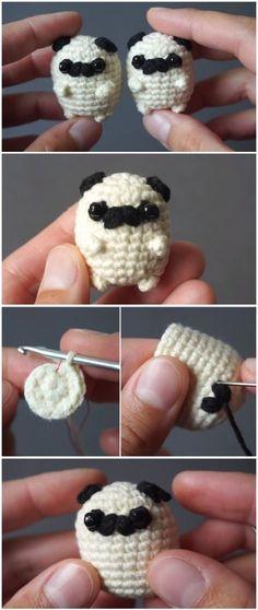 Вязаное, игрушка, своими руками, мопсик, мини, мило Crochet Diy, Beau Crochet, Crochet Mignon, Crochet Gratis, Crochet Ideas, Crochet Things, Crochet Tutorials, Hand Crochet, Tutorial Crochet