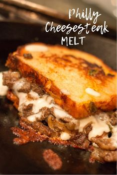 Philly Cheesesteak Melt is a really great change up to the easy dinner menu. This hot sandwich is like a grilled cheese and a patty melt and a philly cheesesteak had a baby! sandwiches Philly Cheesesteak Melt - All My Good Things Roast Beef Sandwich, Steak Sandwich Recipes, Deli Sandwiches, Sandwiches For Dinner, Steak Cheese Sandwich, Philly Cheese Steak Sandwich Recipe Easy, Vegan Sandwiches, Grilled Sandwich, Chicken Sandwich