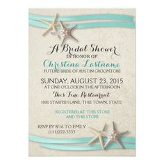 Starfish and Ribbon Bridal Shower Card Starfish and ribbon pink and coral beach theme bridal shower invitation. Select a size and paper type and customize text as preferred. Contact designer for coordinating products. Beach Wedding Invitations, Bridal Shower Invitations, Custom Invitations, Invites, Modern Invitations, Event Invitations, Personalized Invitations, Vintage Beach Weddings, Vintage Bridal