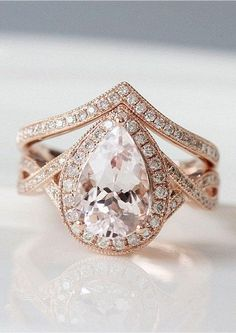 UNIQUE Wedding Ring Set 7x10mm Pear Cut Morganite Engagement Ring